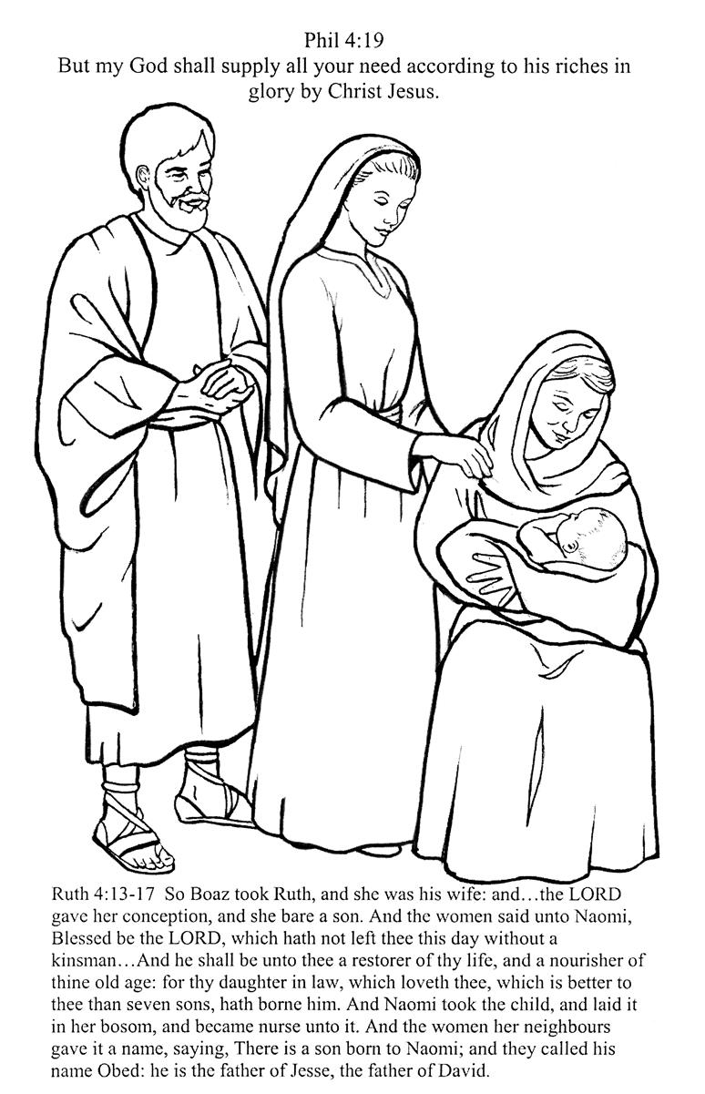 Free coloring pages of ruth, naomi, and boaz